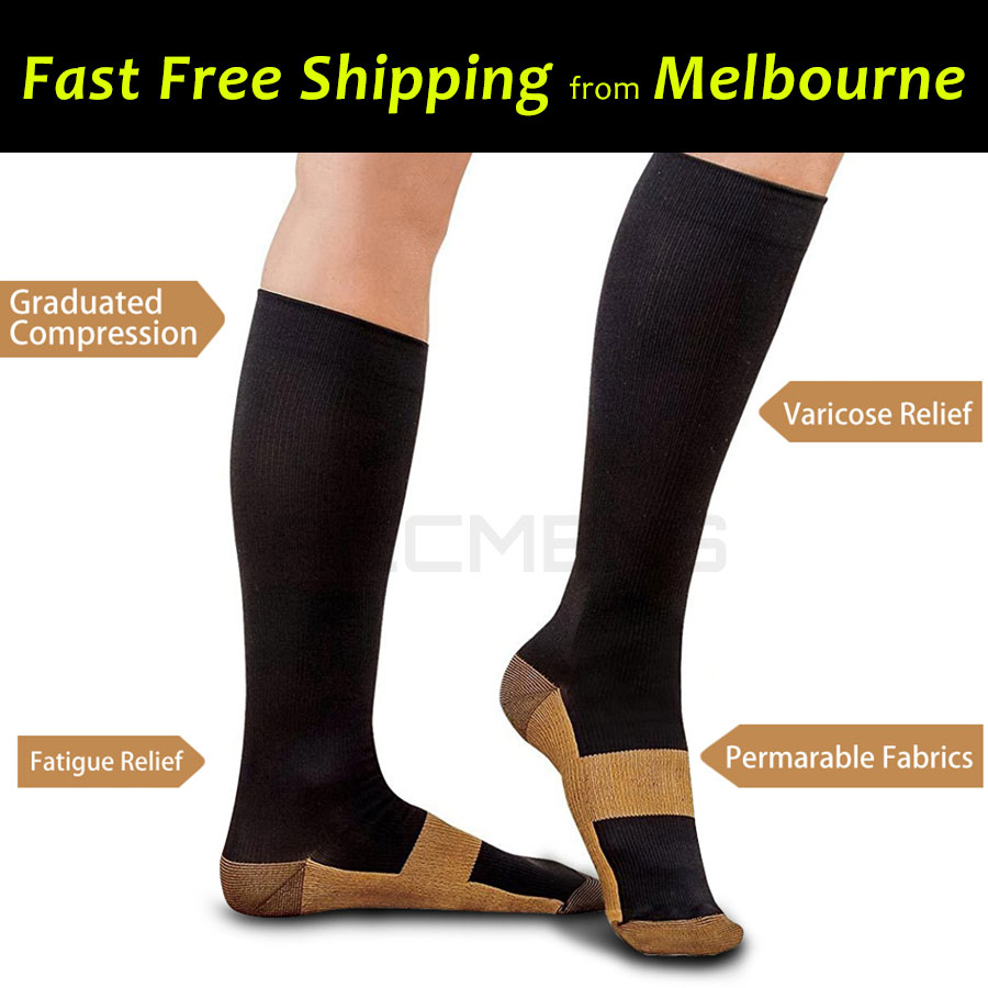 ab182315e5 2 Pairs Miracle Copper Infused Fibre Compression Socks Anti Fatigue Unisex  Sport