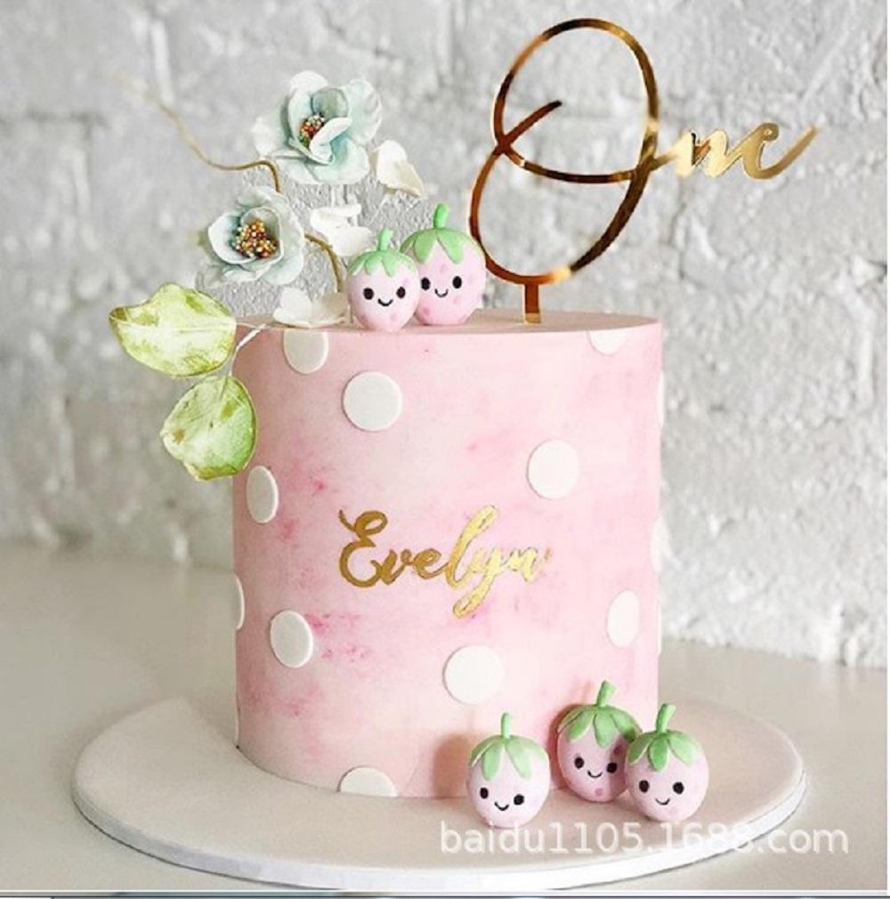 Peachy Happy Birthday One Cake Topper Acrylic Baby Party Decorations Funny Birthday Cards Online Amentibdeldamsfinfo