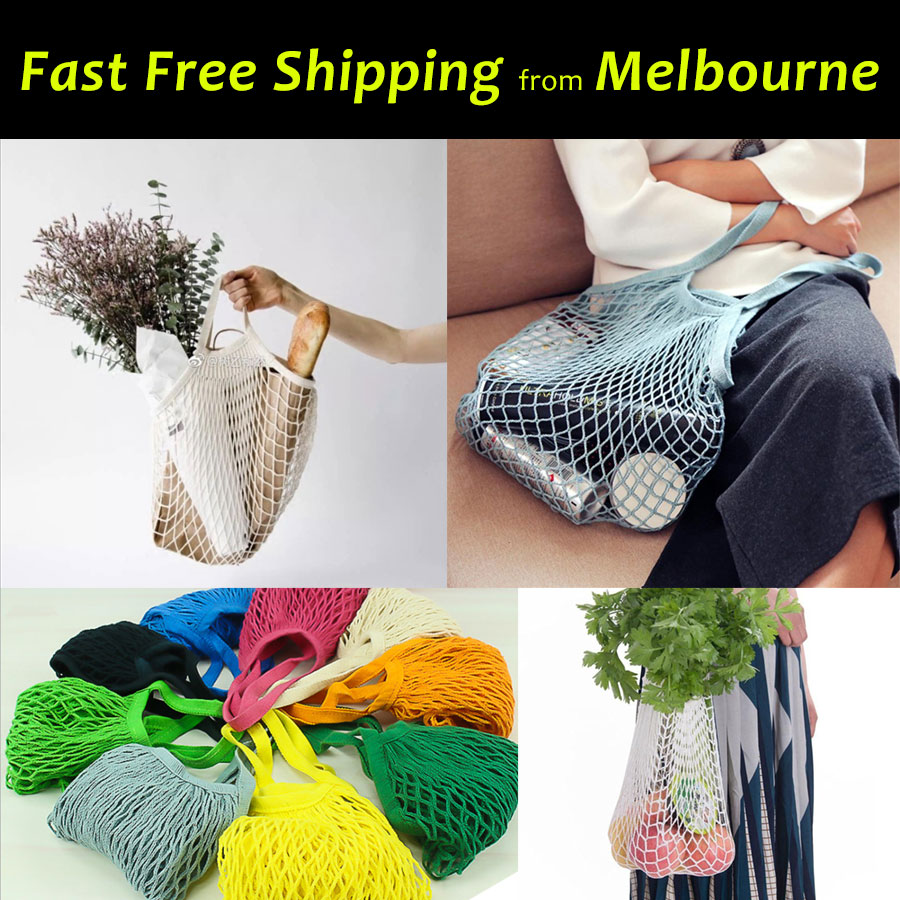 Mesh Net Shopping Bags Eco Friendly Tote String Foldable Reusable Grocery Cotton
