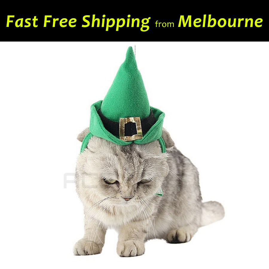 Pet Dog Cat Christmas Green Hat Outfit Costume Cosplay Party Fun ...