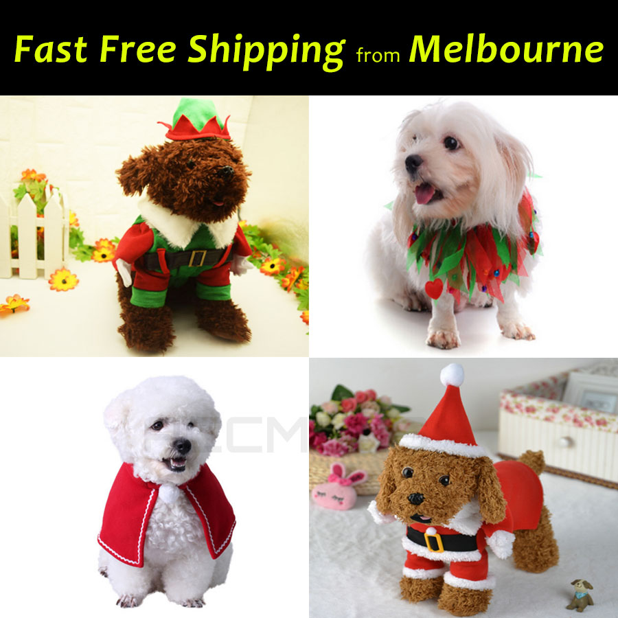 Pet Dog Cat Christmas Outfit Costume Lei Cape Hat Harness Cosplay ...