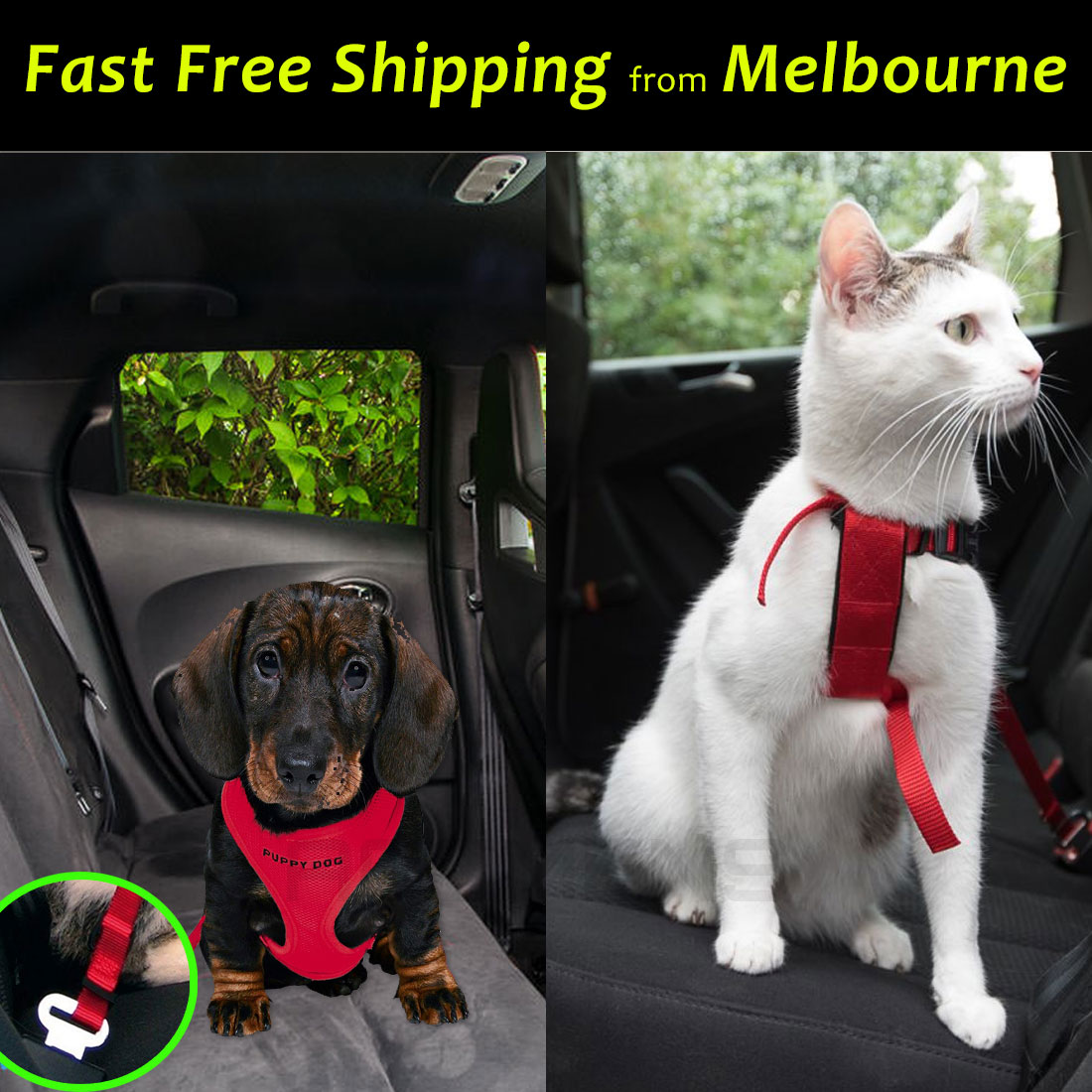 Pet Puppy Dog Cat Car Seat Belt Harness Restraint Lead Adjustable Travel Clip